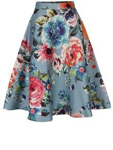 Fustă cloș midi bleu cu flori -  Dolly & Dotty Blossom