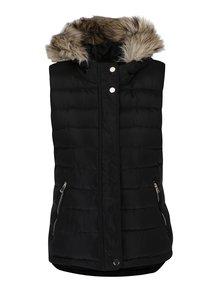 Čierna prešívaná vesta s kapucňou a umelým kožúškom Dorothy Perkins