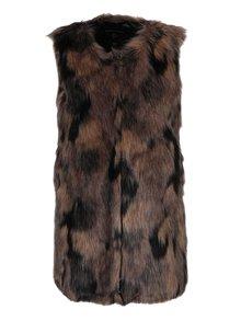 Hnědá žíhaná vesta z umělého kožíšku Dorothy Perkins