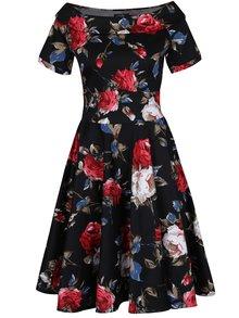 Rochie cloș neagră cu flori și decolteu pe umeri - Dolly & Dotty Darlene