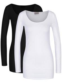 Sada dvou triček s dlouhým rukávem v černé a bílé barvě VERO MODA Maxi