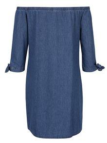 Modré džínové košilové šaty s odhalenými rameny Dorothy Perkins