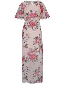 Ružové kvetované maxišaty s rozparkom Dorothy Perkins Petite