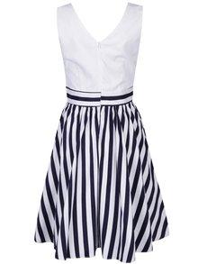 Bílo-modré pruhované šaty s překříženým dekoltem Dolly & Dotty May