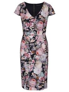 Růžovo-černé pouzdrové květované šaty Dorothy Perkins