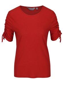 Cihlové tričko s řasením na rukávech Dorothy Perkins Petite