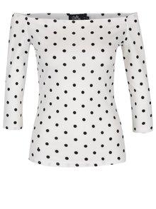 Bluză albă cu buline negre  și decolteu pe umeri - Dolly & Dotty Gloria