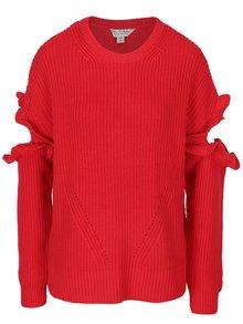 Červený sveter s prestrihmi na rukávoch Miss Selfridge