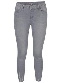Světle šedé zkrácené ultra soft džíny s potrhaným efektem Dorothy Perkins