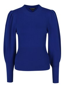 Modrý sveter s balónovými rukávmi Miss Selfridge