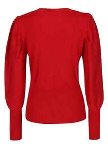 Červený sveter s balónovými rukávmi Miss Selfridge