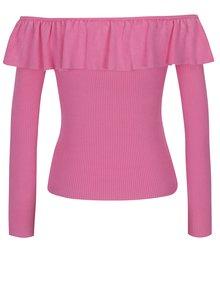 Růžový svetr s odhalenými rameny a volánem Miss Selfridge