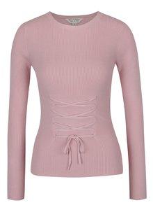 Pulover roz deschis cu șiret tip corset - Miss Selfridge