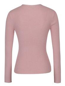 Svetloružový sveter s chokerom a sponou Miss Selfridge