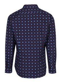 Tmavomodrá košeľa s modro-červenými kvetmi Seidensticker