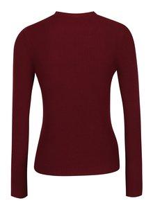 Vínový sveter s chokerom a sponou Miss Selfridge