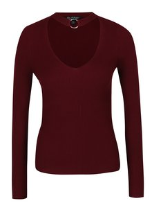 Bluză roșu bordo cu choker - Miss Selfridge