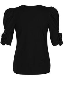 Čierne tričko s nariasenými rukávmi a šnurovaním Miss Selfridge