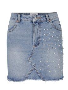 Světle modrá džínová minisukně s plastickými ozdobnými detaily Miss Selfridge