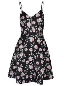 Čierne kvetované šaty so zipsom v dekolte TALLY WEiJL