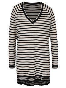 Pulover lung din jerseu negru&crem cu dungi Scotch & Soda