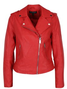 Jachetă biker roșie cu aspect de piele  - Miss Selfridge