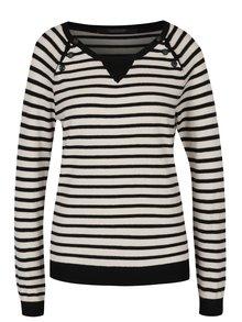 Pulover negru&alb din jerseu cu model în dungi Maison Scotch