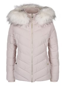 Starorůžová prošívaná bunda s umělým kožíškem Miss Selfridge