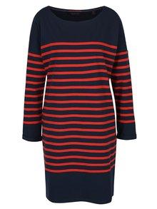 Modro-červené pruhované oversize šaty s dlouhým rukávem Maison Scotch