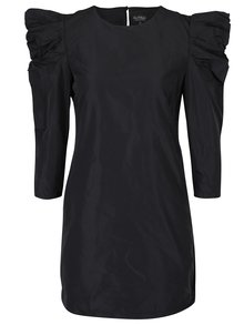Čierne šaty s 3/4 nariasenými rukávmi Miss Selfridge