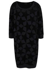 Čierne vzorované šaty s 3/4 rukávom Maison Scotch
