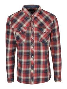 Modro-červená kockovaná slim fit košeľa Blend