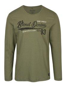 Khaki tričko s potiskem a dlouhým rukávem Blend
