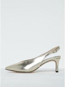 Lesklé sandáliky v zlatej farbe s hadím vzorom Miss Selfridge