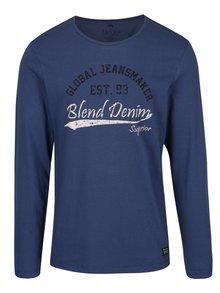 Modré tričko s potiskem a dlouhým rukávem Blend