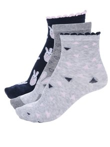 Súprava troch párov dievčenských vzorovaných ponožiek v modrej a sivej farbe 5.10.15.