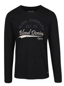 Černé tričko s potiskem a dlouhým rukávem Blend
