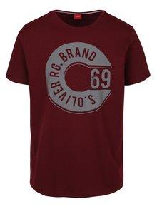 Vínové pánské tričko s potiskem s.Oliver