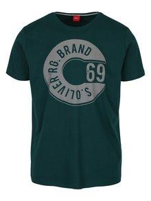 Tmavozelené pánske tričko s potlačou s.Oliver