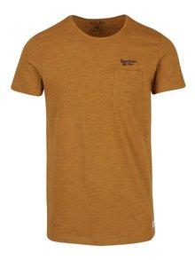 Hnědé tričko s náprsní kapsou Blend