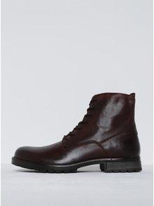Tmavě hnědé kožené kotníkové boty se zipem Jack & Jones Worca