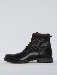 Tmavě hnědé kožené kotníkové boty se zipem Jack & Jones Marly