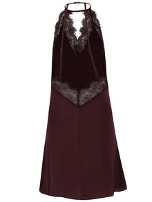 Camasa de noapte rosu burgundy cu detalii din dantela - Y.A.S Mona