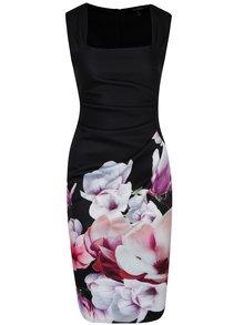 Rochie neagră cu print floral și drapaj lateral Dorothy Perkins