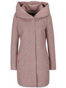 Starorůžový žíhaný lehký kabát s kapucí ONLY Sedona