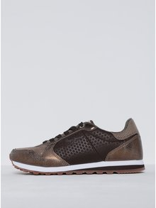 Pantofi sport maro cu bronz pentru femei Pepe Jeans Verona Remake