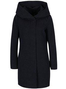 Tmavě modrý žíhaný lehký kabát s kapucí ONLY Sedona