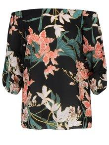 Čierna kvetovaná blúzka s odhalenými ramenami Dorothy Perkins