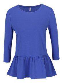 Modré tričko s 3/4 rukávem a volánem ONLY Live
