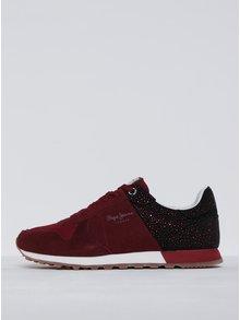 Pantofi sport roșu bordo cu negru pentru femei Pepe Jeans Verona Flash